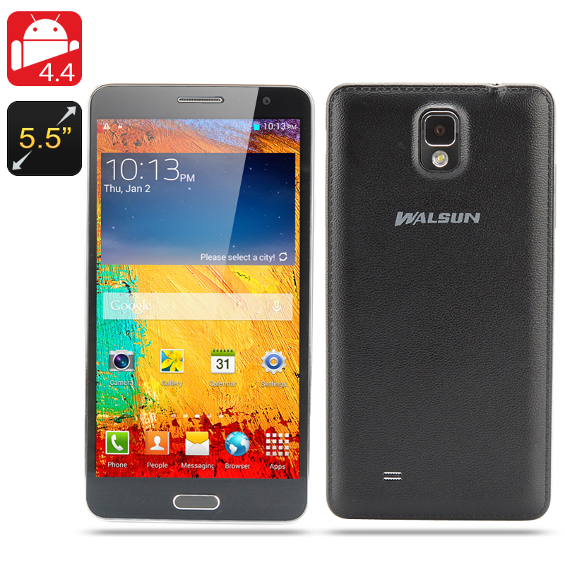 Walsun N9000 Quad Core Phone - 5.7 Inch 1280x720 Capacitive IPS Screen, Android 4.4 OS, 1.3GHz CPU, 8GB Internal Memory (Black)