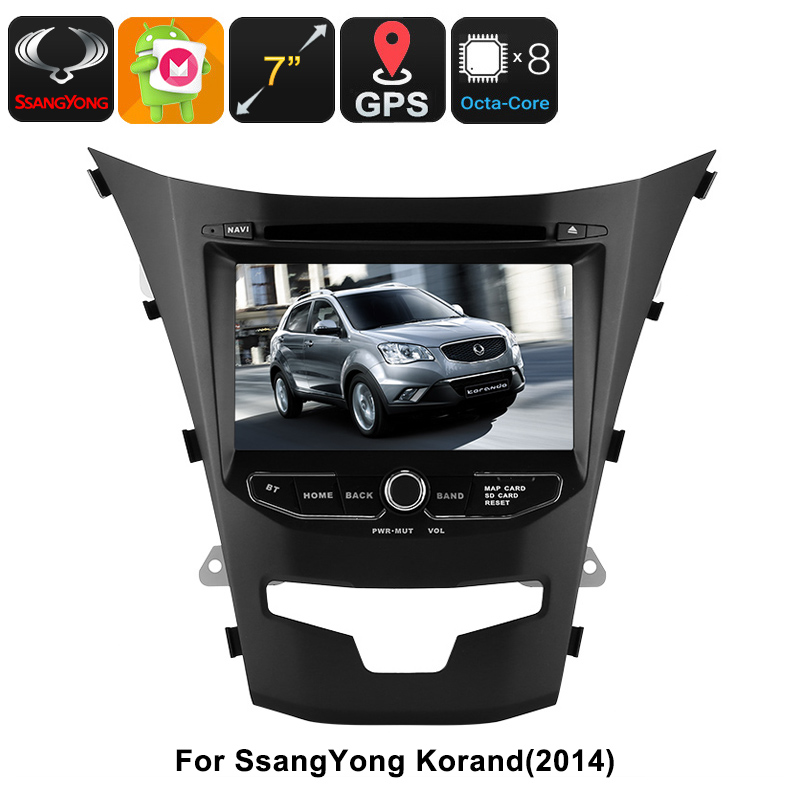 2 DIN Car DVD Player - For SsangYong Korando, 7 Inch HD Display, Octa-Core, GPS, WiFi, 3G, Bluetooth, CAN BUS, Android 6.0 CVAIO-C551