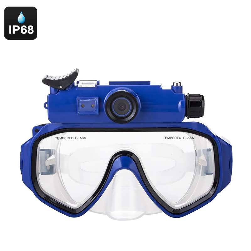 Sports Camera Swim Goggles - IP68 Waterproof, 90-Degree Lens, 1/2.5 Inch CMOS, 5MP Pictures, 720p HD Video, SD Card Support