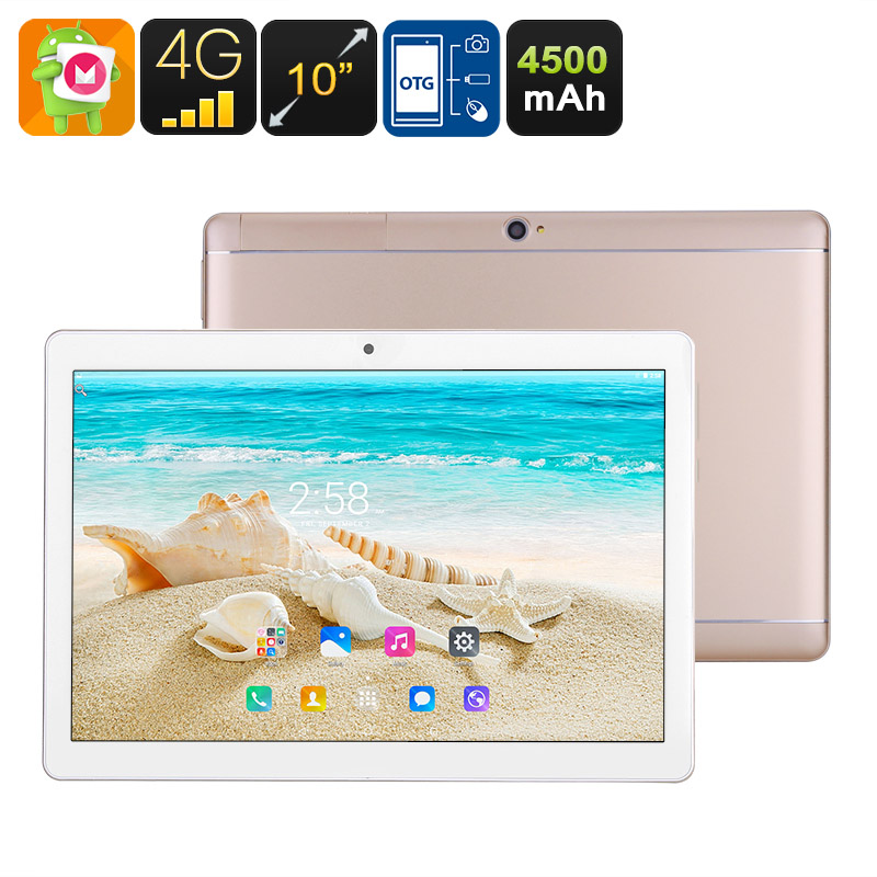 10 Inch Tablet PC - 4G, Dual SIM, Android 6.0, Quad Core CPU, 1GB RAM, OTG, SD Card Slot, HD IPS Screen, 4500mAh Battery