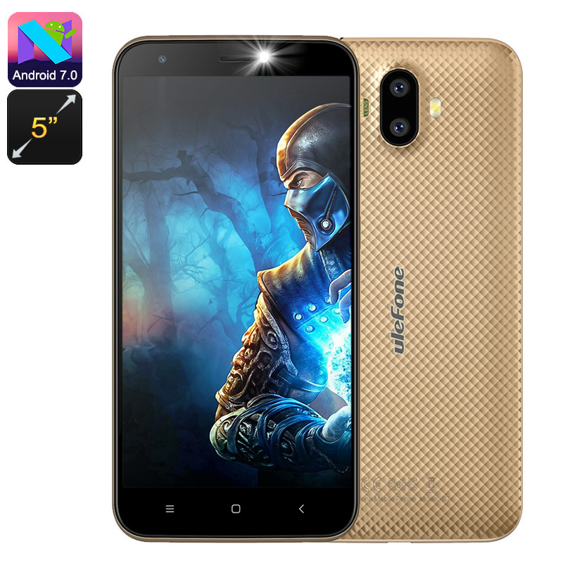 HK Warehouse Preorder Ulefone S7 Android Phone - Quad-Core, 5-Inch Display, Android 7.0, 2GB RAM, Dual-IMEI, 3G, 8MP Cam (Gold)