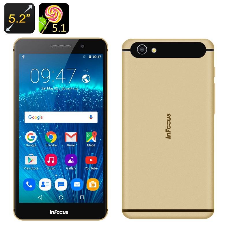 InFocus M560 Android 5.1 Smartphone - 5.2 Inch 1080P Screen, Octa Core CPU, 2GB RAM, 128GB SD Card Storage, 4G (Gold)
