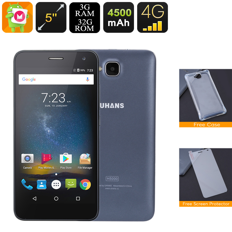 Android Smartphone Uhans H5000 - Android 6.0, 4G, Dual-IMEI, Quad-Core CPU, 3GB RAM, 4500mAh, 5 Inch IPS Display, 720P (Black)