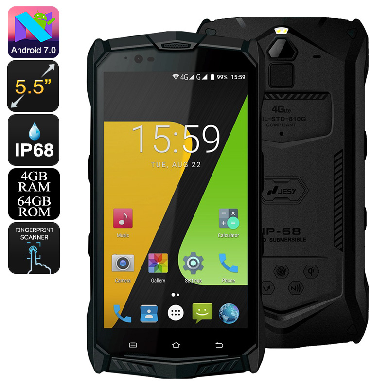 JESY J9S Rugged Phone - Android 7.0, Helio P10 Octa-Core CPU, 4GB RAM, 5.5-Inch Display, Wireless Charging, 6150mAh, 16MP Cam