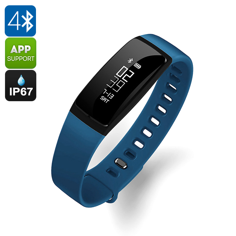 Ordro S11 Smart Sports Wristband - IP67, Pedometer, HR Monitor, Calorie Counter, Blood Pressure Test, Sleep Monitor (Blue) CVGT-W008-Blue