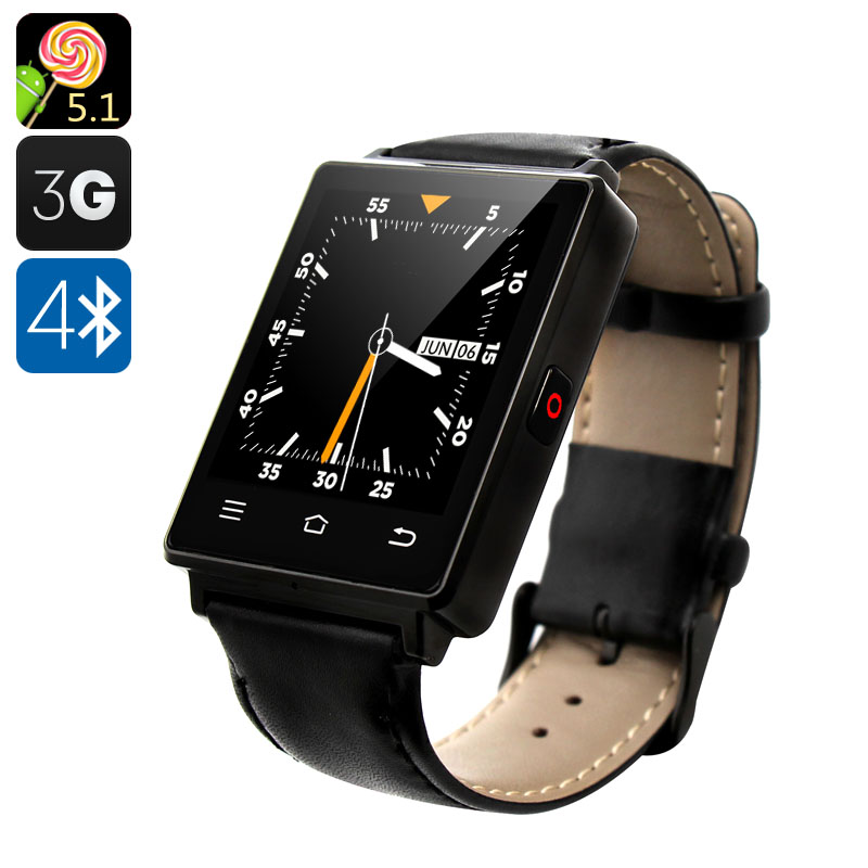 NO.1 D6 3G Smart Watch - Android 5.1, 3G, Bluetooth 4.0, Wi-Fi, GPS, Pedometer, Barometer (Black) CVAFP-M942-Black
