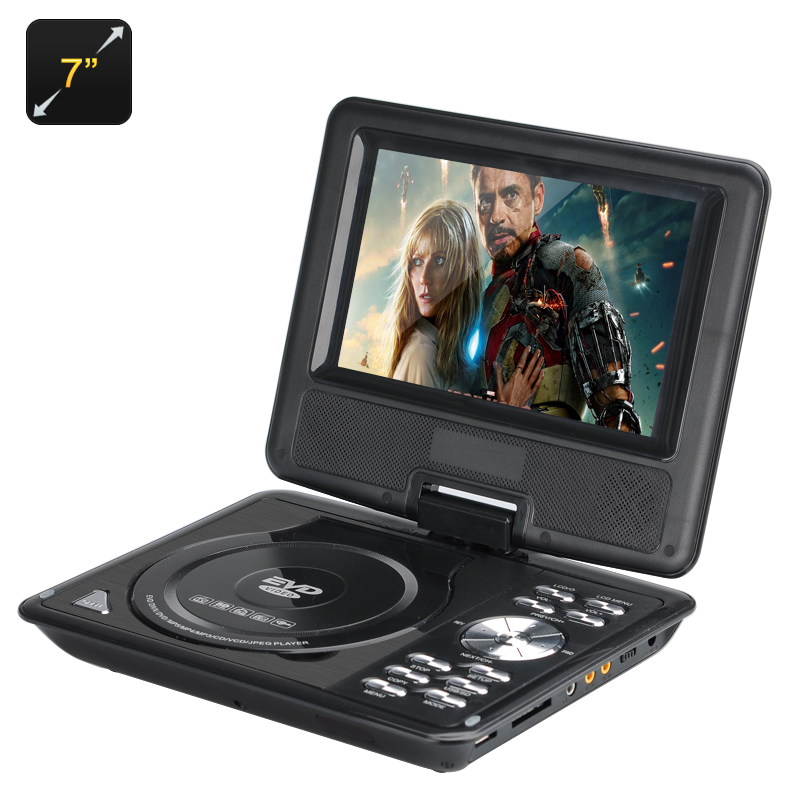 7 Inch Kids Portable DVD Player - Wide screen TFT Color Display, eBook, FM Radio, Game Controller, TV Antenna (Black) CVACC-E488
