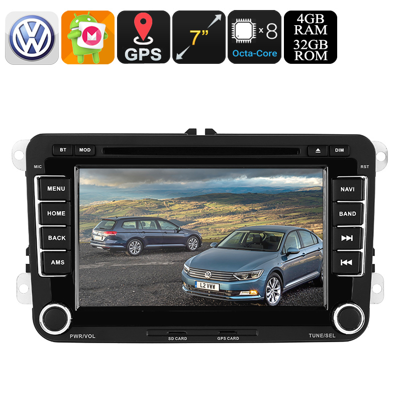 2 DIN Car DVD Player - For Volkswagen Passat, 7 Inch HD Display, Region Free DVD, Bluetooth, WiFi, 3G, CAN BUS, GPS, Android 8.0 CVAIO-C545