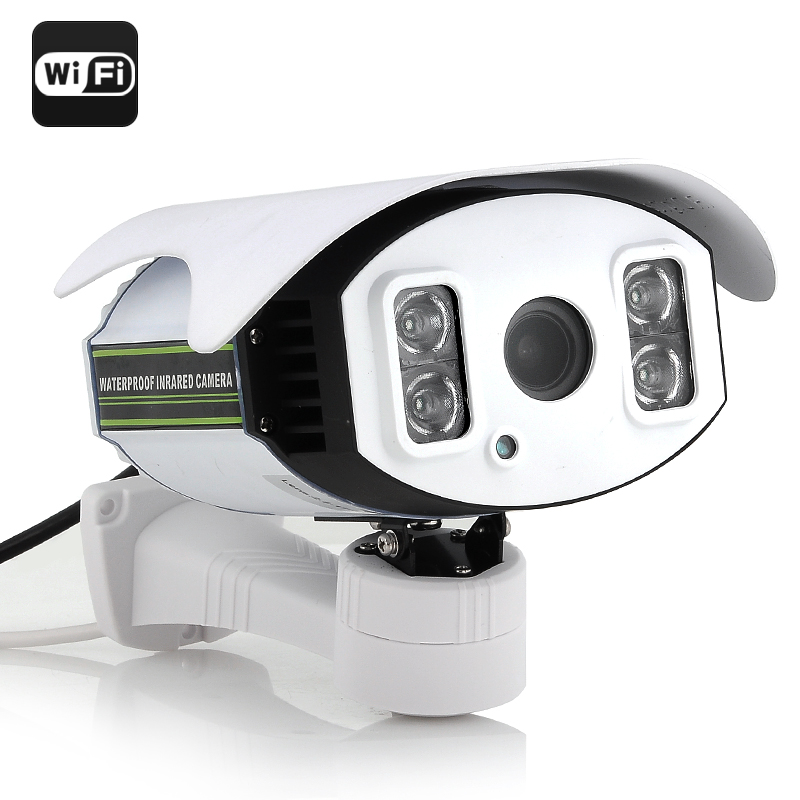 HD IP Security Camera - 1/4 Inch CMOS, 720p, 4x Zoom, H.264, 4x SMD IR Array LED Light, 100M Night Vision, Wi-Fi