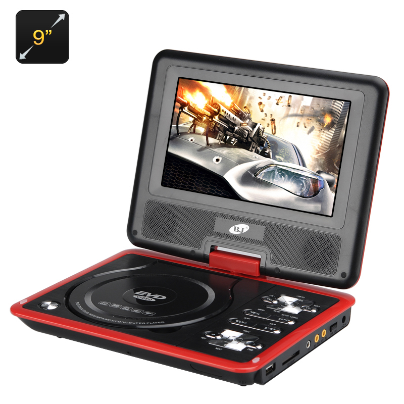 9 Inch Region Free Portable DVD Player - 270 Swivel Screen, 1280x800 Resolution, Hitachi Lens, SD Card slot CVACC-E498