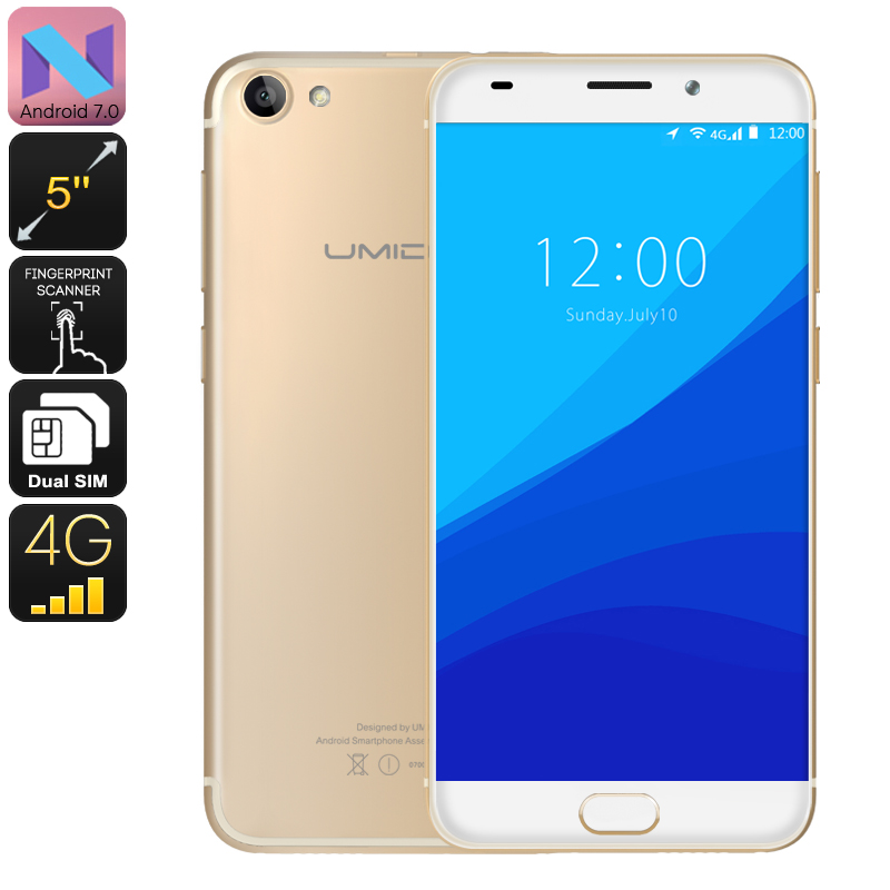 HK Warehouse UMIDIGI G Smartphone - Android 7.0, Quad Core CPU, Fingerprint Scanner, 4G, Dual SIM, 5 Inch (Gold)