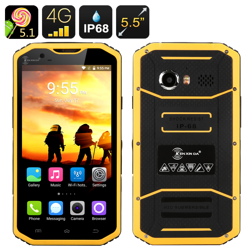HK Warehouse KEN XIN DA PROOFINGS W8 Rugged Smartphone - IP68, Android 5.1, 5.5 Inch, Dual SIM, Octa Core CPU, 2GB RAM(Yellow)