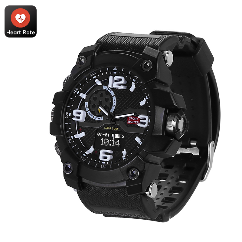 Rugged Outdoor Watch - IP67 Waterproof, Pedometer, Distance Tracker, Calorie Counter, Heart Rate, Blood Pressure, Sleep Monitor CVABR-W070