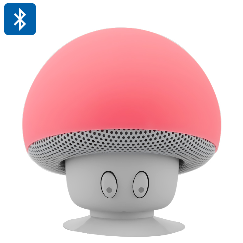 Mushroom Bluetooth Speaker - Built-in Microphone, Splash-Proof Design, Suction Cup, Capable of Answering Calls (Red) CVACP-E437-Red