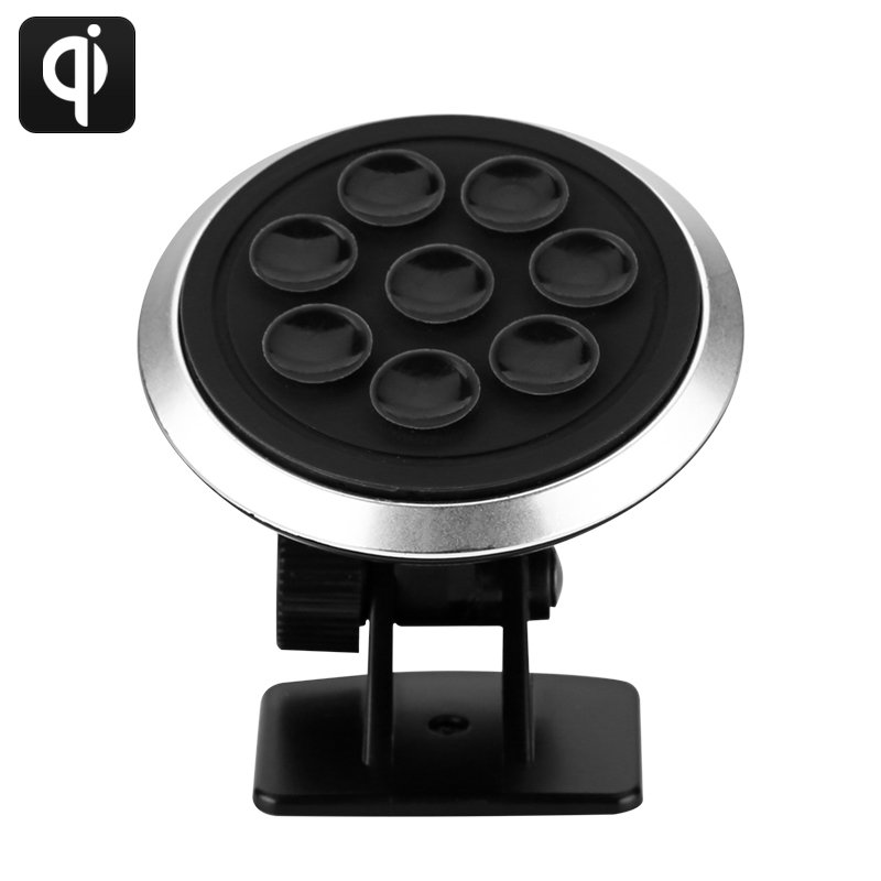 Qi Wireless Car Charger - Qi Complaint Charger, 72% Efficiency, 360 Degree Rotatable, Non Slip 9 Suction Cup CVAHG-A792