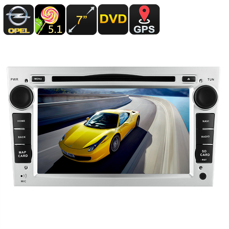 2 DIN Opel Car DVD Player - GPS, 7 Inch Touch Screen, CAN-BUS Decoder, 3G Dongle Support, Wi-Fi, Android 5.1 OS, Region Free DVD CVABR-C487