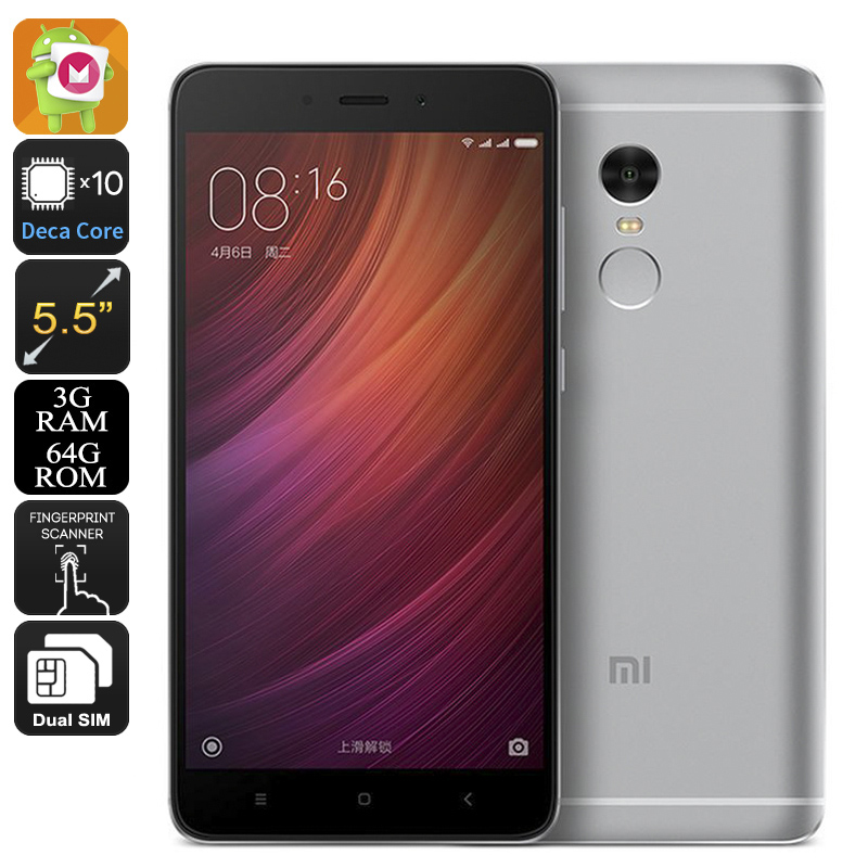 Xiaomi Redmi Note 4 Smartphone - 5.5 Inch FHD Display, Android 6.0, Deca Core CPU, 3GB RAM, 64GB Memory, Fingerprint (Grey)