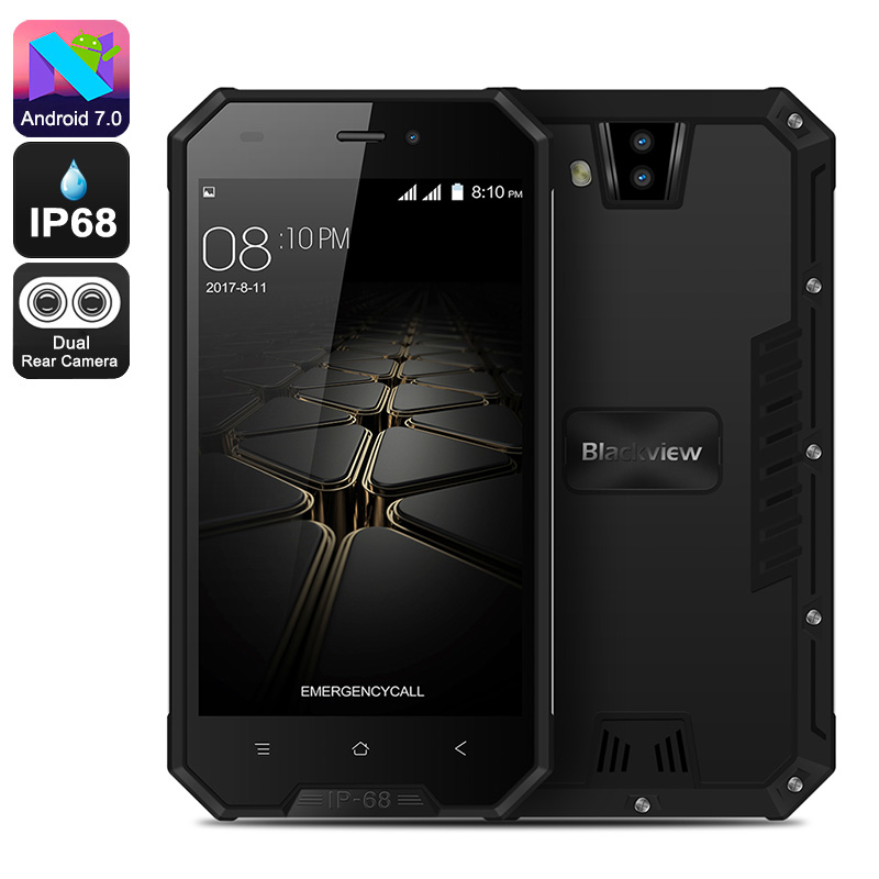 HK Warehouse Blackview BV4000 Pro Rugged Phone - Android 7.0, Quad-Core, HD Display, 3680mAh, IP68, Dual-IMEI (Black)