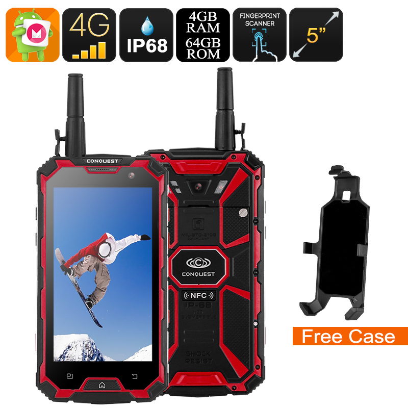 Conquest S8 Rugged Phone 2017 Edition - Android 6.0, Octa-Core CPU, 4GB RAM, Dual-Band WiFi, 5 Inch FHD Display, 4G (Red)