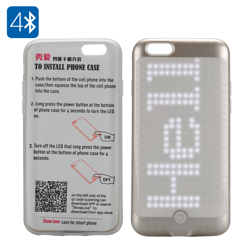 300 LED Programmable iPhone 6/6s Case - Bluetooth 4.0, Free App, 220mAh Battery, 10 Hours Usage Time (Gold)