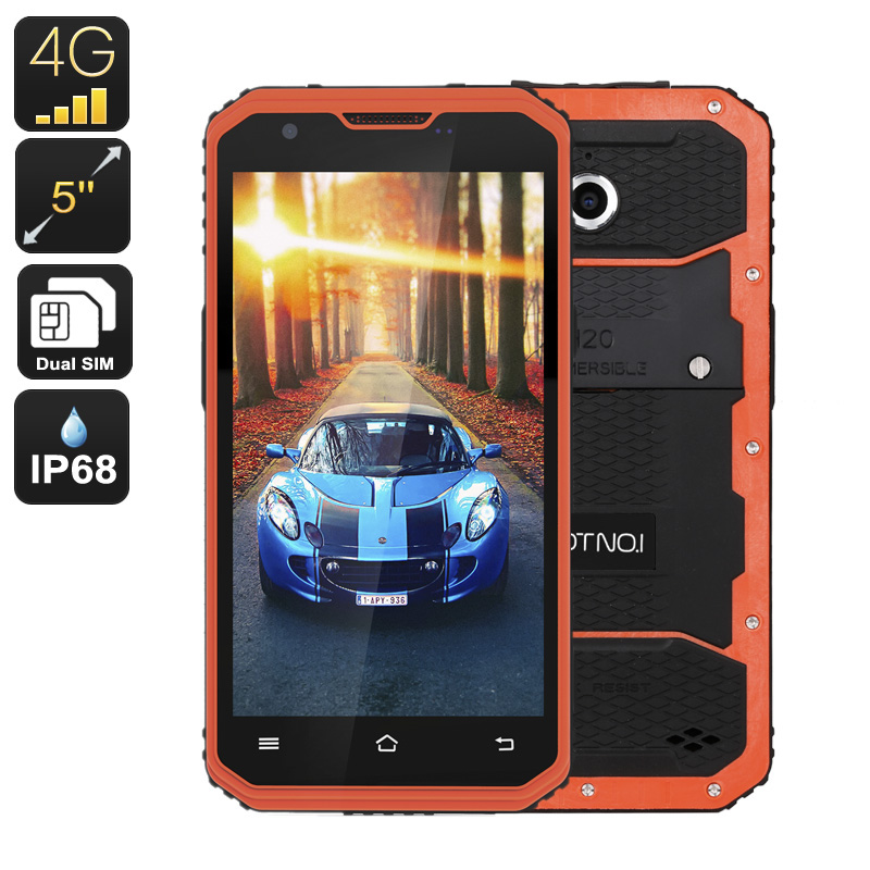 NO.1 M3 Rugged Smartphone - Android OS, IP68, 5 Inch Display, 4G, Dual-IMEI, Quad-Core CPU, 2GB RAM, 13MP Camera (Orange)