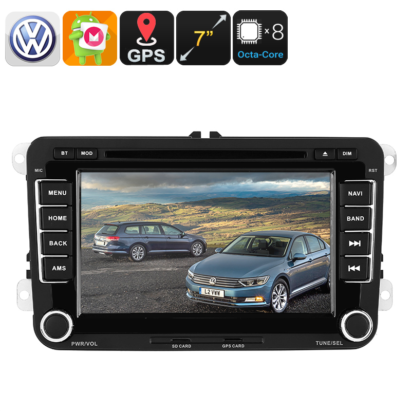 2 DIN Car DVD Player - For Volkswagen Passat, 7 Inch HD Display, Region Free DVD, Bluetooth, WiFi, 3G, CAN BUS, GPS, Android 6 CVAIO-C545