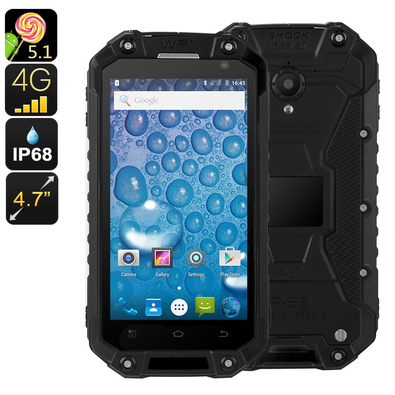 Rugged Android Phone Jeasung X8G - Quad-Core CPU, 2GB RAM, IP68, Dual-IMEI, NFC, OTG, HD Display, Dual-Band WiFi, 4G (Black)