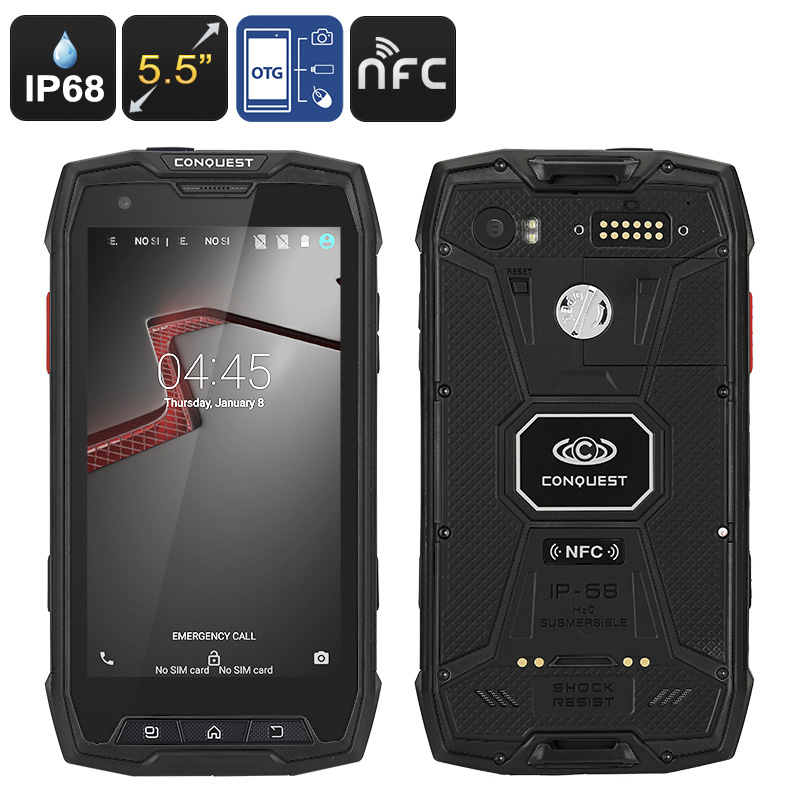 Conquest S9 Rugged Smartphone - IP68, Octa-Core CPU, Android OS, NFC, OTG, 2GB RAM, 5.5 Inch Display (Black)