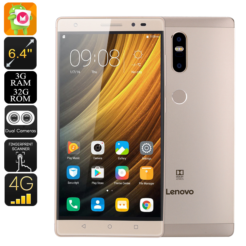 Lenovo Phab 2 Plus Android Smartphone - Android 6.0, 6.44 Inch FHD, 2xSIM, 4G, Octa-Core CPU, 3GB RAM, 13MP Dual-Cam (Gold)