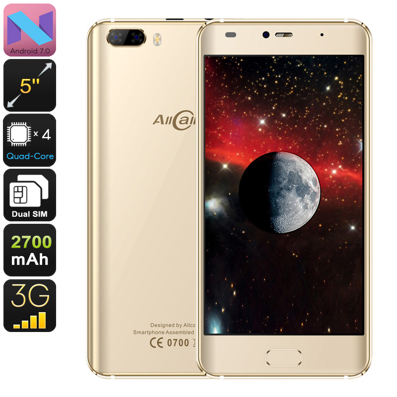 Allcall Rio Android Phone - Android 7.0, Dual IMEI, 3G, OTG, Quad-Core CPU, 5 Inch HD Display, 8MP Dual-Camera, 2700mAh (Gold)