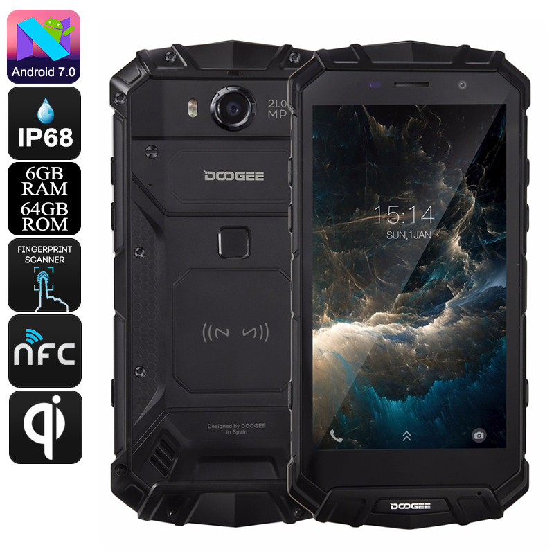 HK Warehouse Doogee S60 Android Phone - QI Wireless Charging, Android 7.0, Octa-Core, 1080p, 6GB RAM, 21MP Cam (Black)