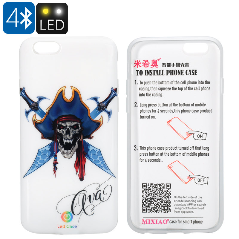LED iPhone 6/6s Case - Pirate Theme, 5 LEd lights, Call Notification, Free APP, 300mAh Battery, 10 Hours Usage Time