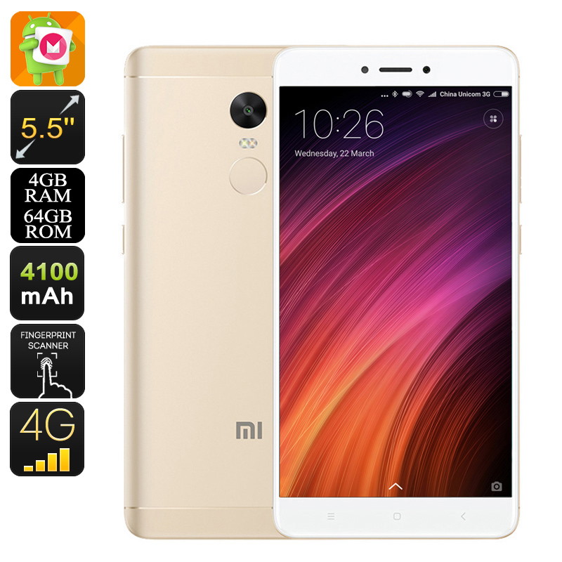 Xiaomi Redmi Note 4X Android Phone - Android 6.0, Deca-Core CPU, 4GB RAM, Dual-IMEI, 5.5-Inch Display, 4G, Dual-Band WiFi (Gold)