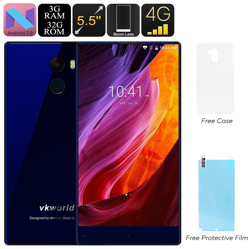 VKWorld Mix Plus Android Phone - Bezel Less Display, 5.5-Inch, Android 7.0, Quad-Core, 3GB RAM, Dual-IMEI, 4G (Blue)