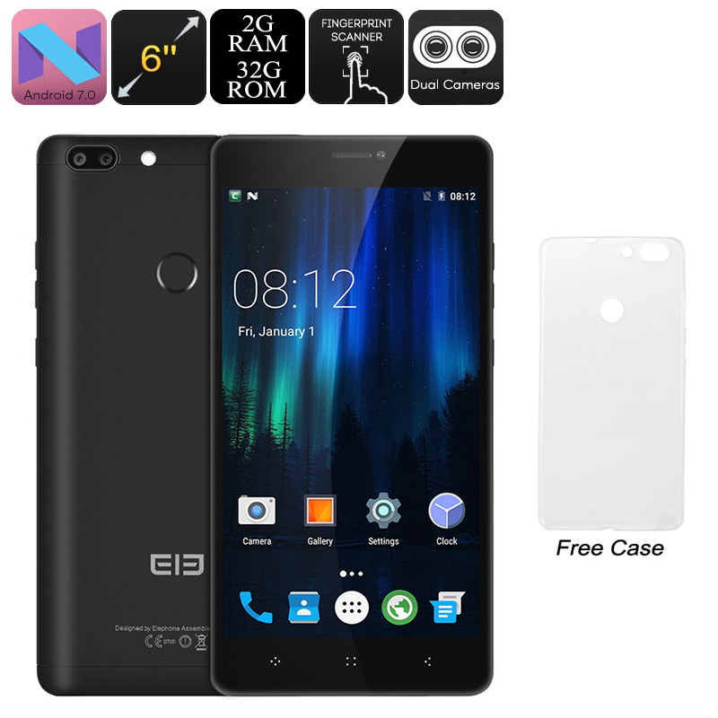 HK Warehouse Elephone C1 Max Android Phone - Quad-Core, Android 7.0, 2GB RAM, 6-Inch IPS, Dual-IMEI, 4G, 13MP Dual-Cam (Black)