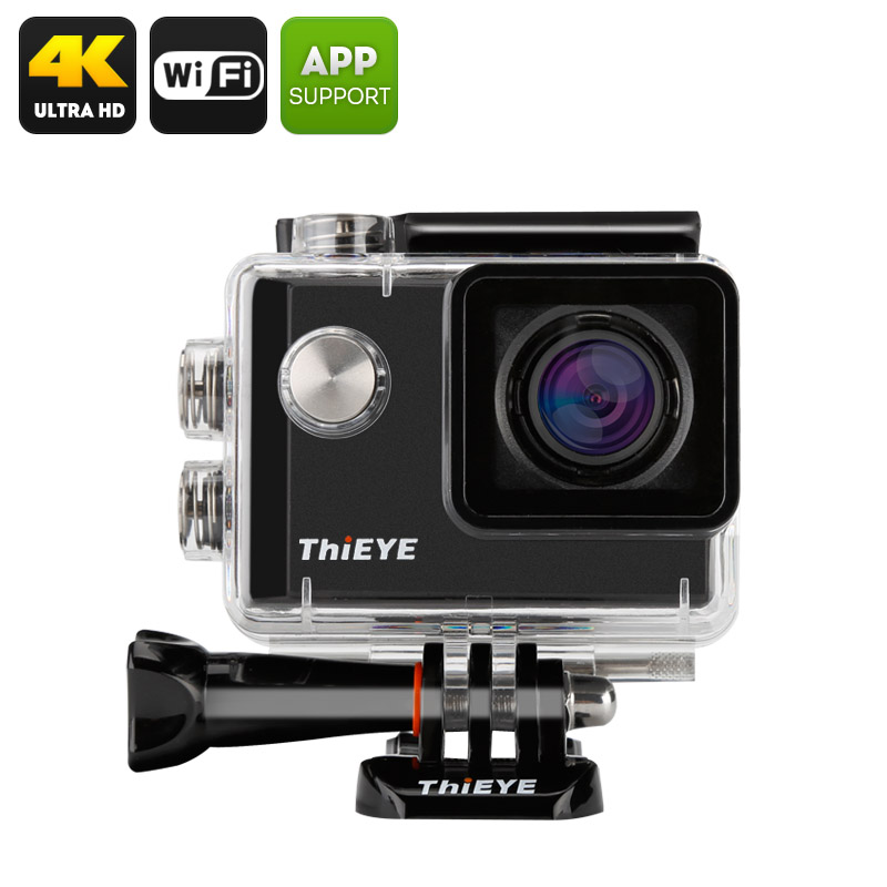 ThiEYE i60 4K Action Camera - 152 Degree Wide Angle, 12MP, 1.5 Inch TFT Display, Loop Recording (Black) CVAHM-DV142-Black