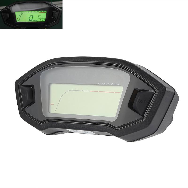 Universal Digital Motorcycle Odometer - Mph And Km/h, 7 Color Backlight, Time, Gear, Speed, Distance Traveled