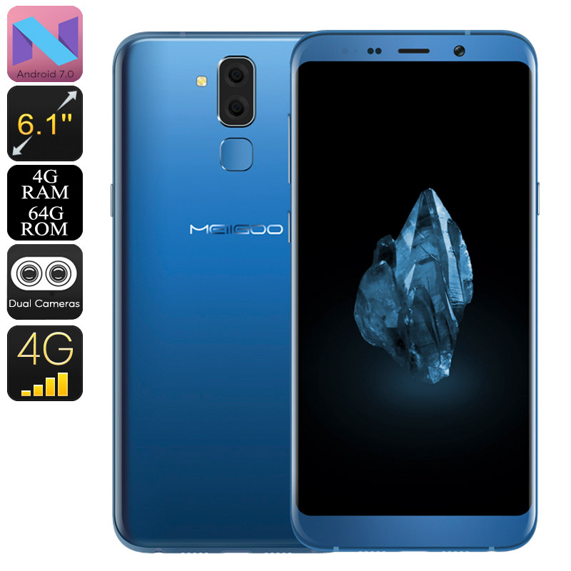 Meiigoo S8 Android Phone - Android 7.0, Dual-IMEI, Octa-Core CPU, 4GB RAM, 13mp Camera, 6.1-Inch Full-HD, 4G (Blue)