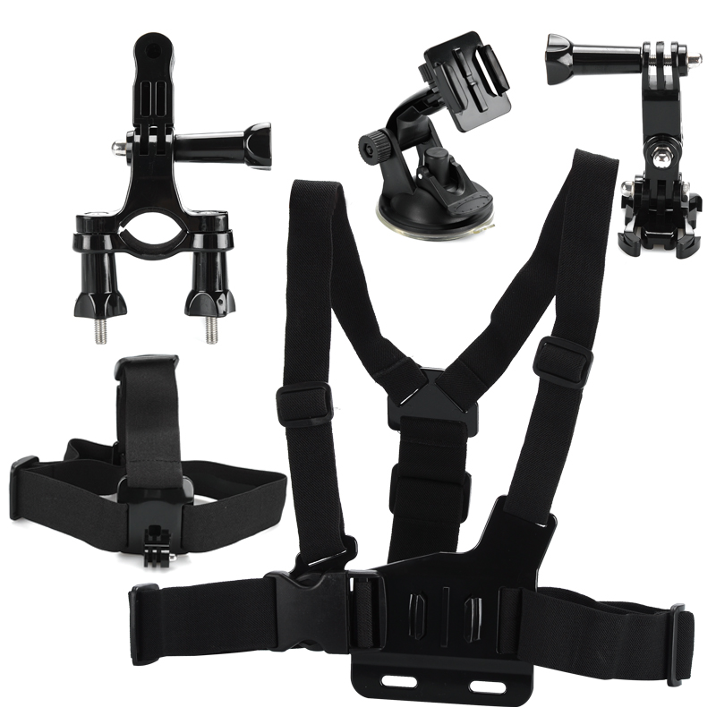 6 In 1 Action Camera Accessories Kit - Body Harness, Head Strap, Handlebar Mount + Other Accessories For GoPro + SJCAM CVADI-A477