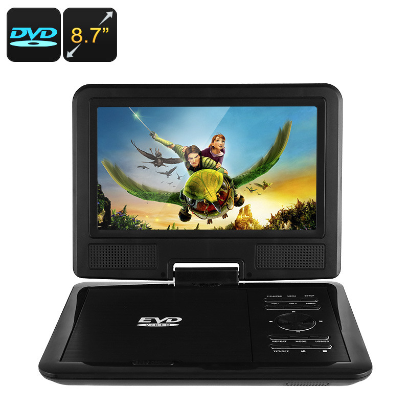 8.7 Inch Portable DVD Player - Region Free, 270 Degree Swivel Screen, FM Radio, MP3, TV, Games CVAIA-E848