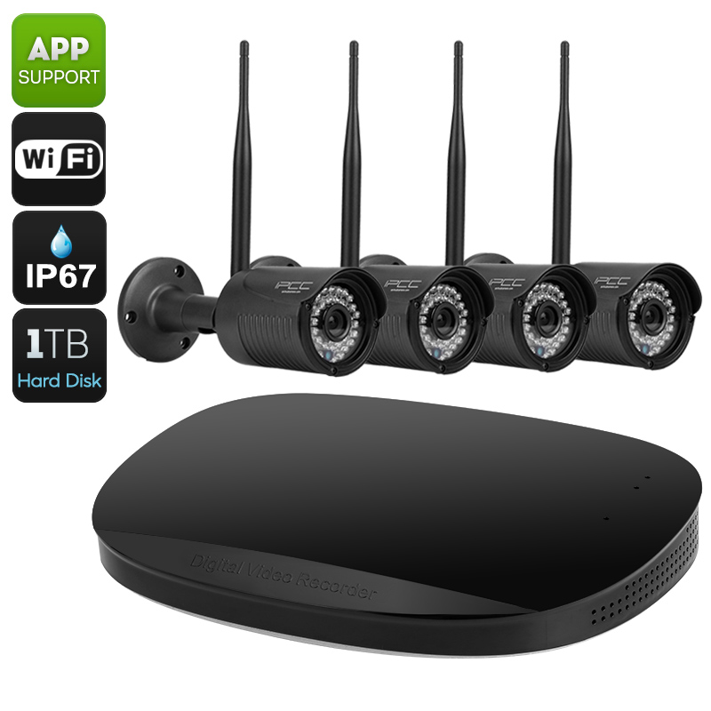 4 Channel NVR Security Kit - 720P Recording, IR Cut, 30 Meter Night Vision, 1TB Storage,  Wi-Fi, Remote Monitoring