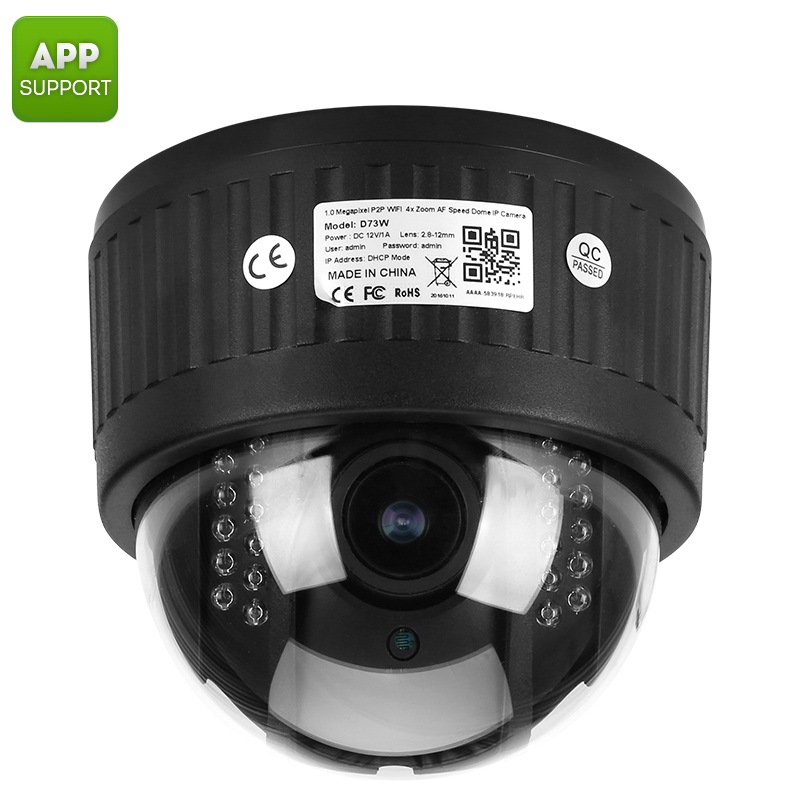 PTZ Security Camera - 1/3 Inch CMOS, 960P, 4x Zoom, Auto Focus Lens, 20m Night Vision, IR Cut, App Support