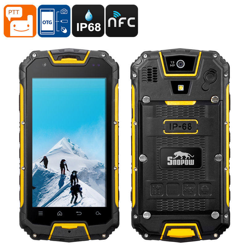 Snopow M5 Rugged Phone - 3300mAh Battery, IP68, Walkie-Talkie, Dual SIm, 4G, Android OS (Yellow)
