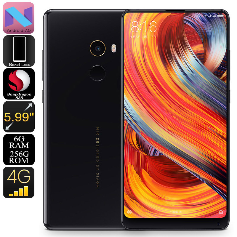 Xiaomi Mi Mix 2 Android Smartphone - 5.99-Inch Bezel Less, Bluetooth 5.0, Android 7.0, Snapdragon 835 CPU, 6GB RAM