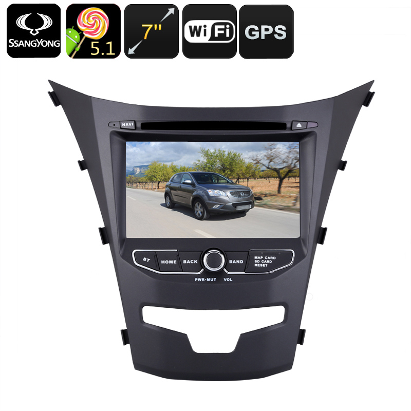 Android Car DVD Player - Dual-DIN, 7 Inch, 3G Support, Android 5.1.1, Region Free DVD, Quad-Core CPU, GPS, For Ssangyong Korando CVABR-C489