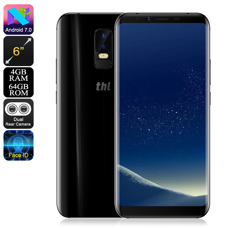 THL Knight 2 Smartphone - Android 7.0, 6 Inch Screen, Octa Core CPU, 4GB RAM, 4200mAh Battery, 4G, Dual Rear Camera (Black) CVAEF-SM127-Black