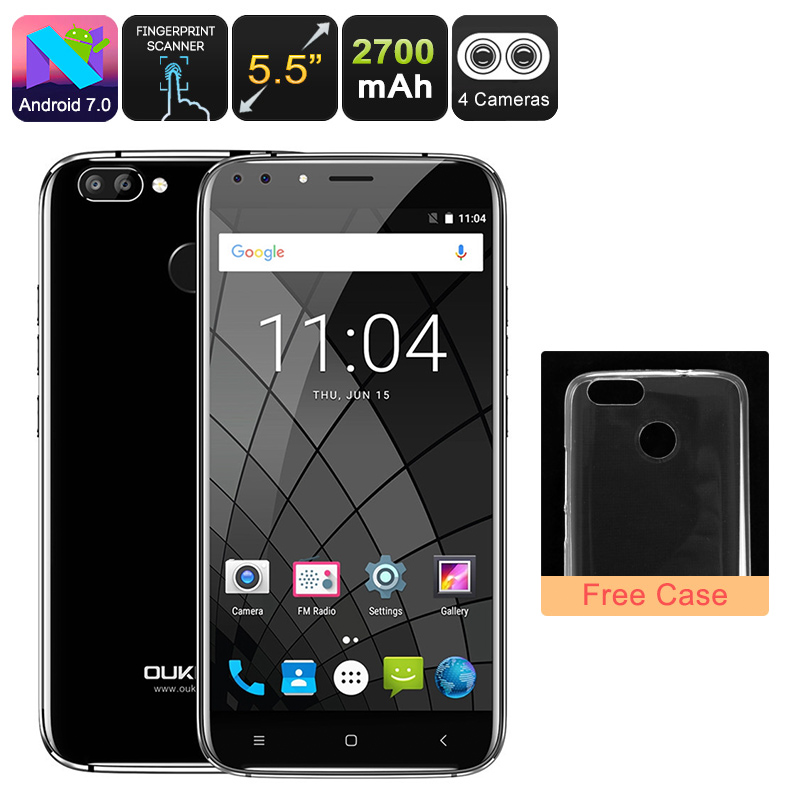 HK Warehouse Android Phone Oukitel U22 - Quad-Core CPU, 2GB RAM, Dual-Rear Cam, Android 7.0, 5.5 Inch HD Display (Black)