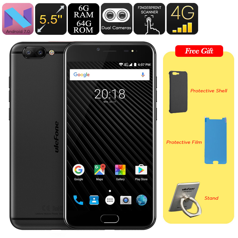HK Warehouse Ulefone T1 Android Smartphone - MTK Helio P25 CPU, Android 7.0, 6GB RAM, 1080p Display, 16MP Cam, Dual IMEI (Black)