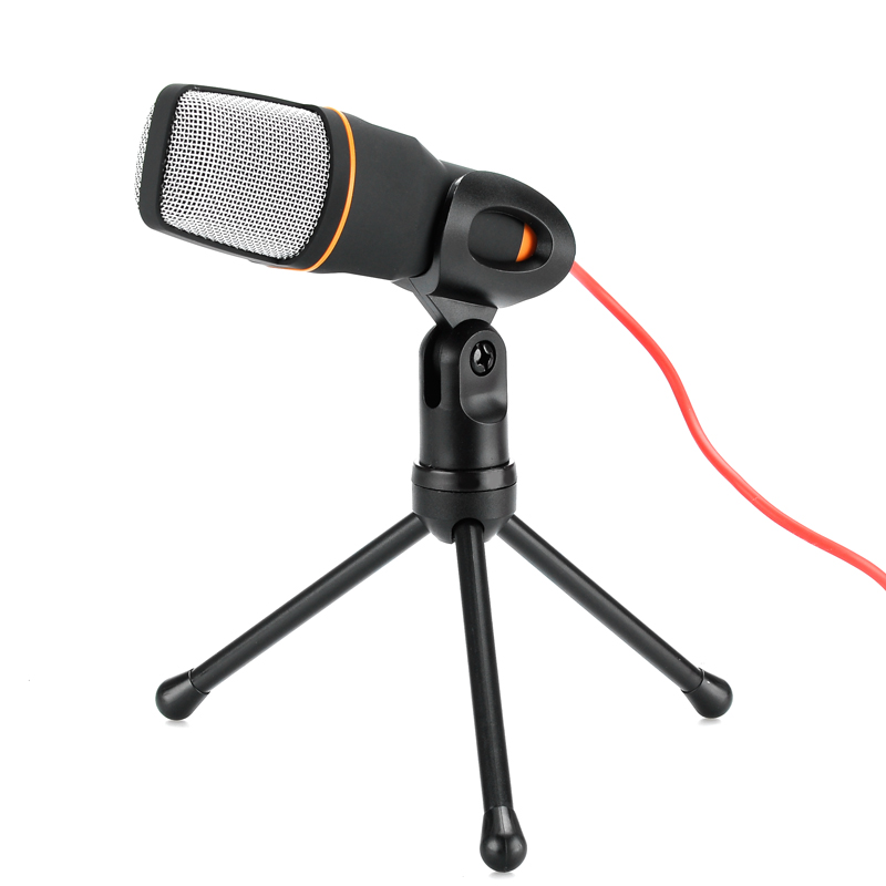 Desktop Stereo Condenser Microphone - 3.5mm Output Jack, Noise Cancellation, 6 inch Tripod