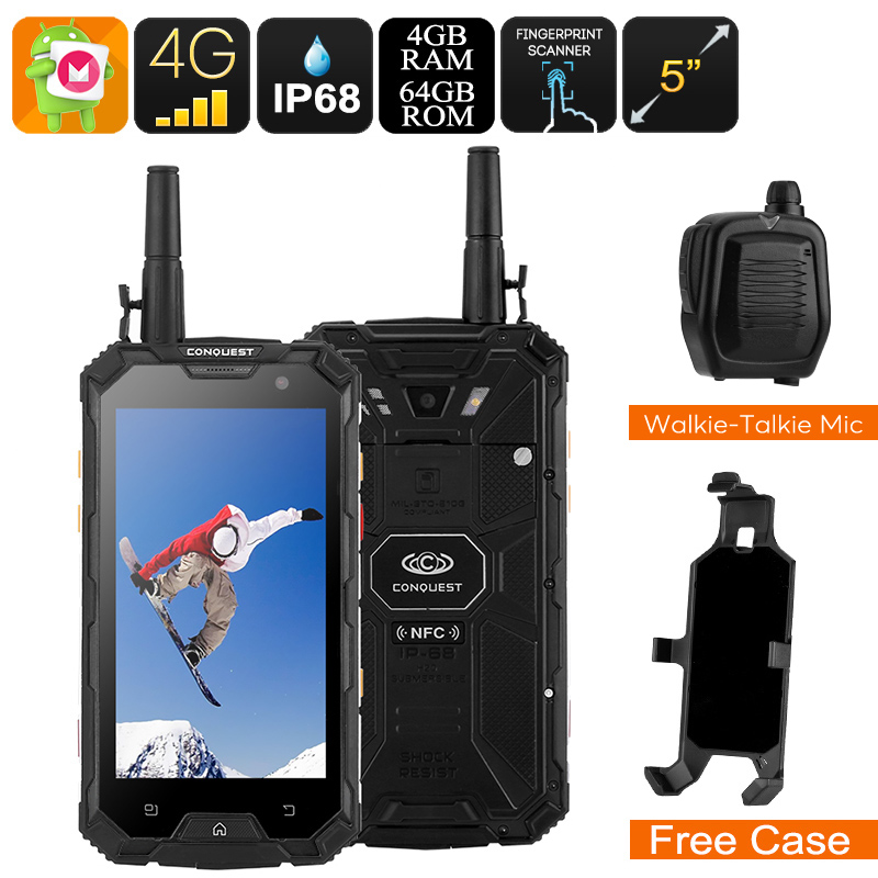 Conquest S8 Rugged Phone 2017 Edition - IP68, External Walkie-Talkie Mic, 4G, SOS, Android 6.0, Octa-Core CPU, 1080p, 6000mAh